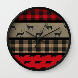 Rustic Woodland Plaid Wall Clock