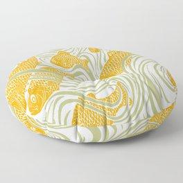 Art Nouveau Swimming Koi by Seasons K Designs Floor Pillow