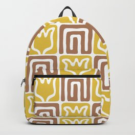 Mid Century Flower Garden Pattern 381 Yellow and Brown Backpack