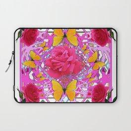 PINK ROSE FLOWERS  &  GOLDEN BUTTERFLIES GARDEN ART Laptop Sleeve