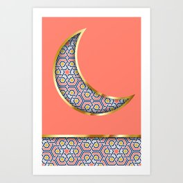 Patterned crescent on living coral pink Art Print