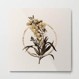 Gold Ring Cheiranthus Flower Glitter Botanical Illustration Metal Print
