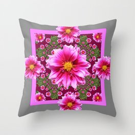 Abstracted  Fuchsia Dahlias Geometric Stylized Floral Grey Garden Throw Pillow