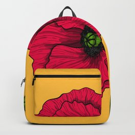 Red poppy drawing Backpack