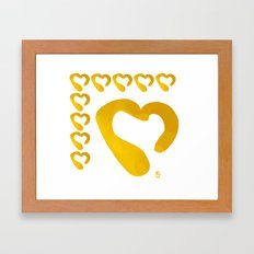 Gold Hearts on White - Love is Golden Framed Art Print