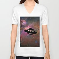 ufo V-neck T-shirts featuring UFO by Ace of Spades