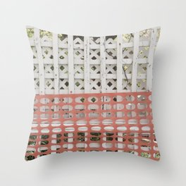 Protected (protection zone safety fence pattern) Throw Pillow