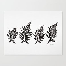 Inked Ferns – Black Palette Canvas Print