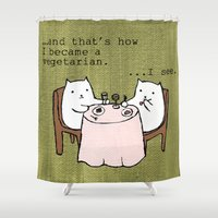 vegetarian Shower Curtains featuring The Vegetarian Cat by teapartyanimals
