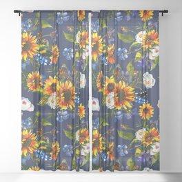 Modern yellow orange blue watercolor sunflower floral pattern Sheer Curtain