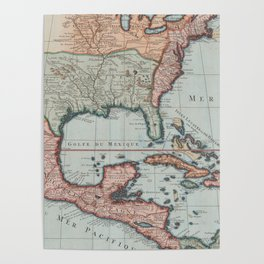 Vintage Map of The Gulf of Mexico (1732) Poster