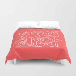 Cocktail Party Red Duvet Cover
