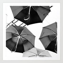 Black Umbrellas Art Print
