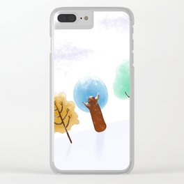 Christmas Trees Snowy Landscape Clear iPhone Case