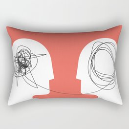 Two humans head silhouette psycho therapy concept. Rectangular Pillow