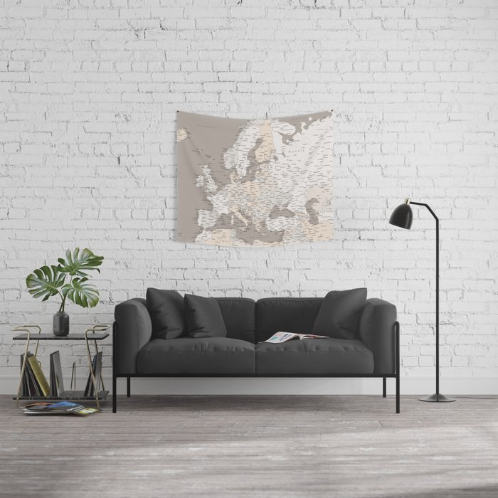 """Light brown map of Europe with cities """"Light earth tones"""" Wall Tapestry"""