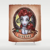 pinup Shower Curtains featuring FOREVER pinup by Tim Shumate