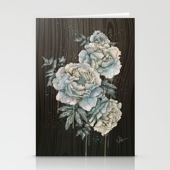 Peony Wood Stationery Cards