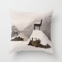 The Stag At Lake Bohinj Throw Pillow