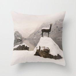 The Stag At Lake Bohinj Throw Pillow