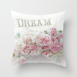 Dreamy Pink Roses Floral Print - Romantic Shabby Chic Dream Floral Home Decor Throw Pillow