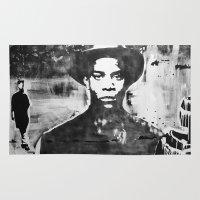 basquiat Area & Throw Rugs featuring Washington Square Park- Jean Michel Basquiat by SAMO4PREZ