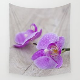 pink orchid flower close up water drops Wall Tapestry