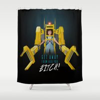 ripley Shower Curtains featuring Get Away From Her You BITCH! by DWatson