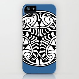 Celtic Art - Interlaced Birds - on Blue iPhone Case