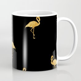 Golden Flamingo Pose on Black Background Coffee Mug
