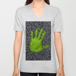 Carbon handprint / 3D render of modern city with handprint shaped park Unisex V-Neck
