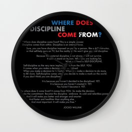 """""""Where does discipline come from"""" Jocko Willink Wall Clock"""