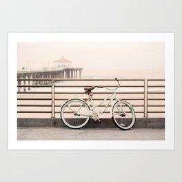Bicycle at Manhattan Beach Pier, Riding Bikes at the Beach, Beach Art Print, California Summer Art Print
