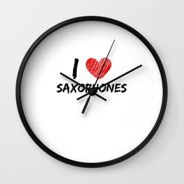 I Love Saxophones Wall Clock