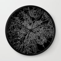 brussels Wall Clocks featuring Brussels by Line Line Lines