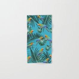 Parrots in the Tropical Jungle #2 #tropical #decor #art #society6 Hand & Bath Towel