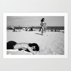 girls on beach Art Print