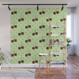 CHERRIES ON MINT GREEN Wall Mural
