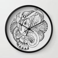 thailand Wall Clocks featuring Thailand Elephant by Nuryanti Eryz
