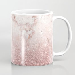 Elegant Faux Rose Gold Glitter White Marble Ombre Coffee Mug