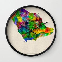 Saudi Arabia Map in Watercolor Wall Clock