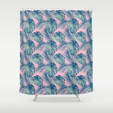 Pop Tropical Leaves Seamless Pattern Series 1 Shower Curtain