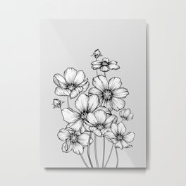 Flowers Black and White Metal Print