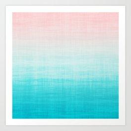 Grunge Pastel Millennial Pink Aqua Blue Teal Mint Linen Pattern Ombre Gradient Texture Art Print