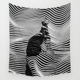 Minimalist Abstract Modern Ripple Lines Projected Woman Sensual Cool Feminine Black and White Photo Wall Tapestry