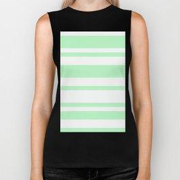 Mixed Horizontal Stripes - White and Light Green Biker Tank