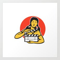 asiian woman girl with movie clapboard Art Print