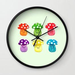 cute mushroom emoji watercolor painting  Wall Clock