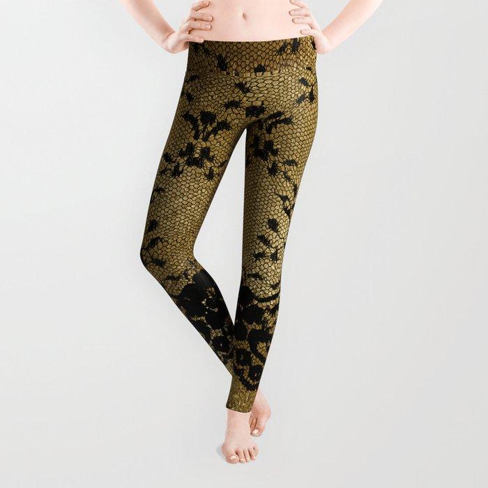 Black floral elegant lace on gold metal background Leggings