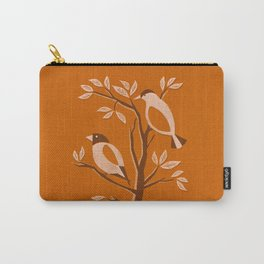 Burnt Orange Mid Century Birds On Branches Carry-All Pouch